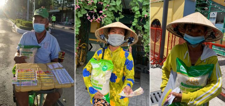 Gửi gạo cho bà con nghèo ở Long Xuyên