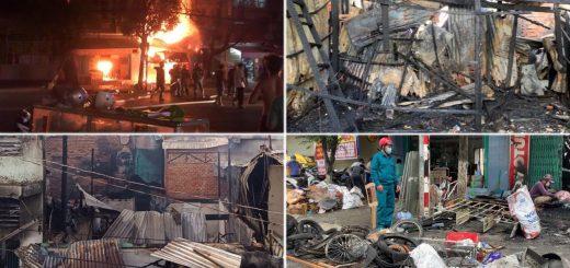 Vụ hỏa hoạn thiêu rụi 4 căn nhà ở Long Xuyên
