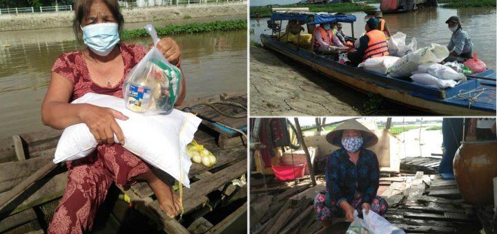 50 phần quà gửi tặng bà con ở khu nhà nổi trên sông Hậu